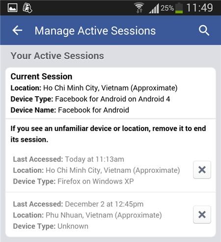 Cách thoát Facebook từ xa
